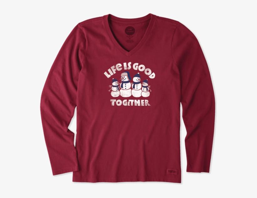 Women's Good Together Snowman Long Sleeve Crusher - T-shirt, transparent png #131537