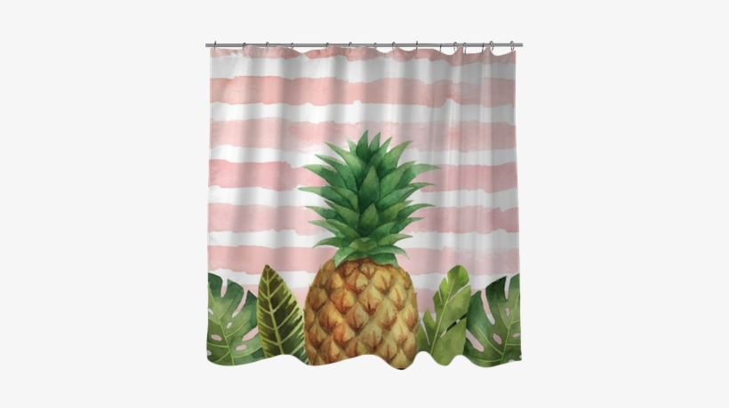 Watercolor Vector Banner Tropical Leaves And Pineapple - Window Blind, transparent png #131753