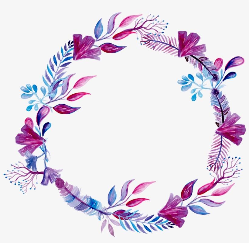 Purple Watercolor Wreath Ink Paint Flowers Freetoedit - Calendário 2018 Criativo, transparent png #132104