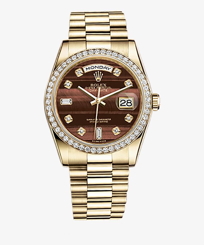 Diamond Rolex Png Banner Transparent Download - Rolex Day Date Gold With Diamonds, transparent png #133712