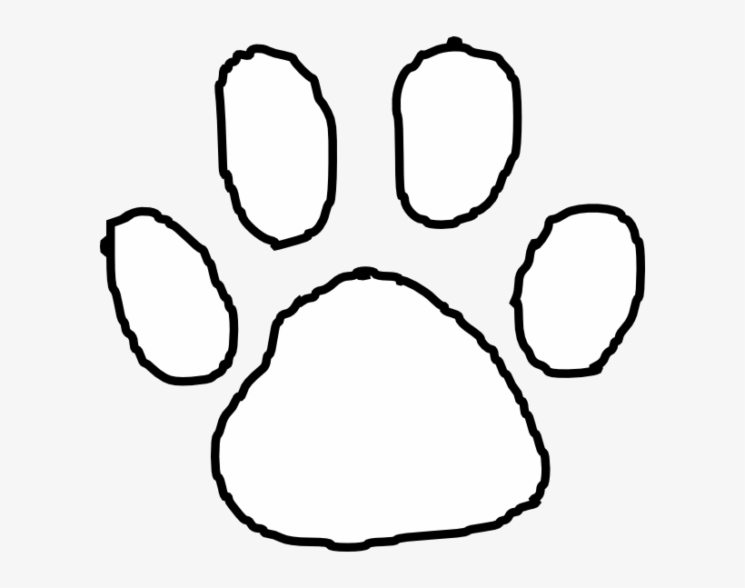 Paw print outline. Tiger clip art at
