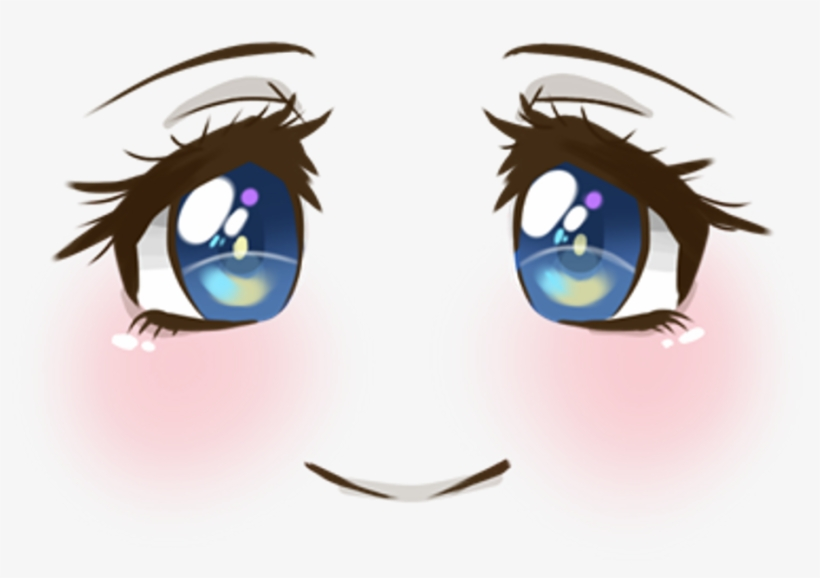 Cute Face Smile Blush Blueeyes Anime Animegirl Manga - Anime Eyes Transparent, transparent png #134612