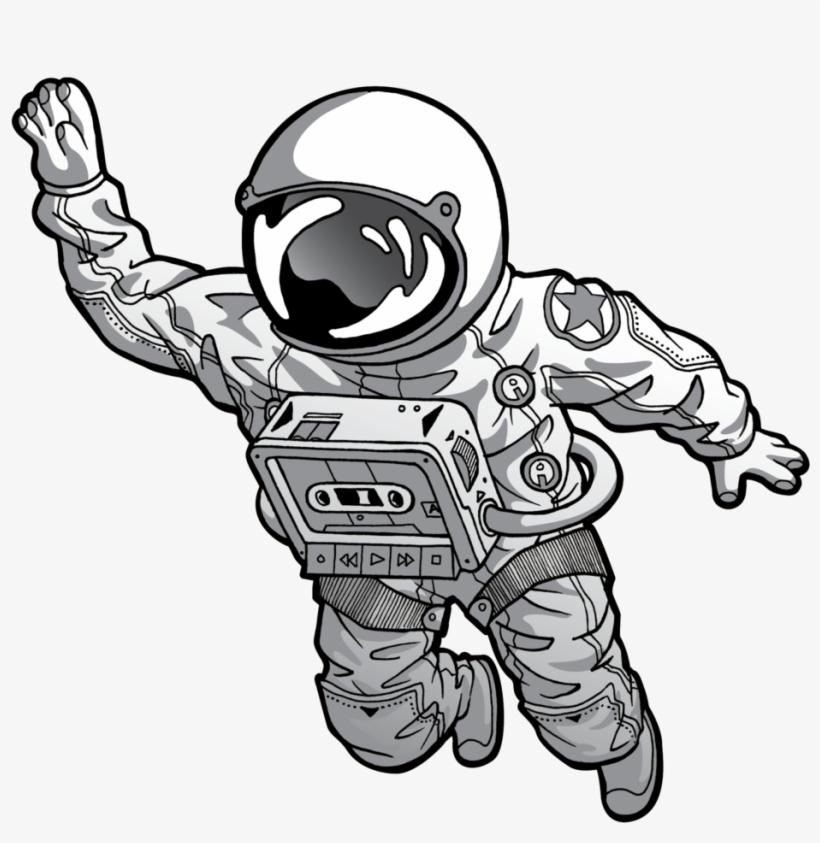 Космонавт картинки черно белые