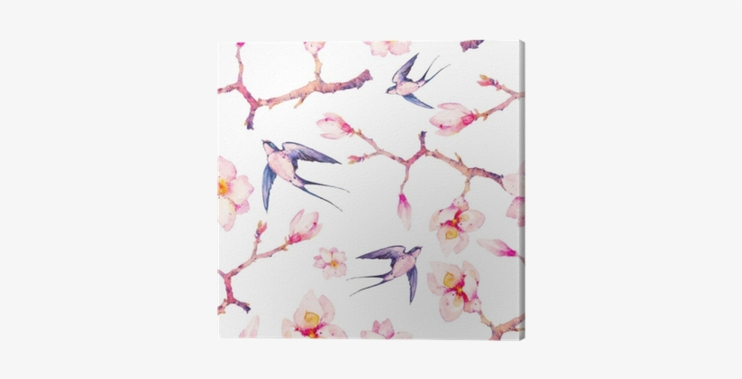 Watercolor Spring With Swallow Seamless Pattern - Swallows And Pink Flowers Painting, transparent png #136691