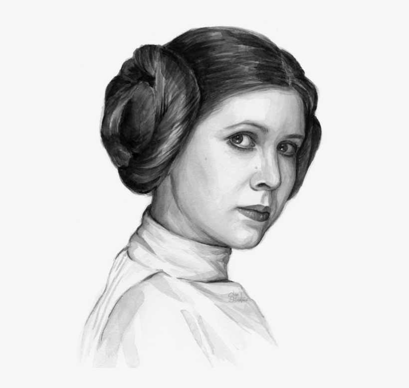 Click And Drag To Re-position The Image, If Desired - Princess Leia Watercolor Portrait, transparent png #139208
