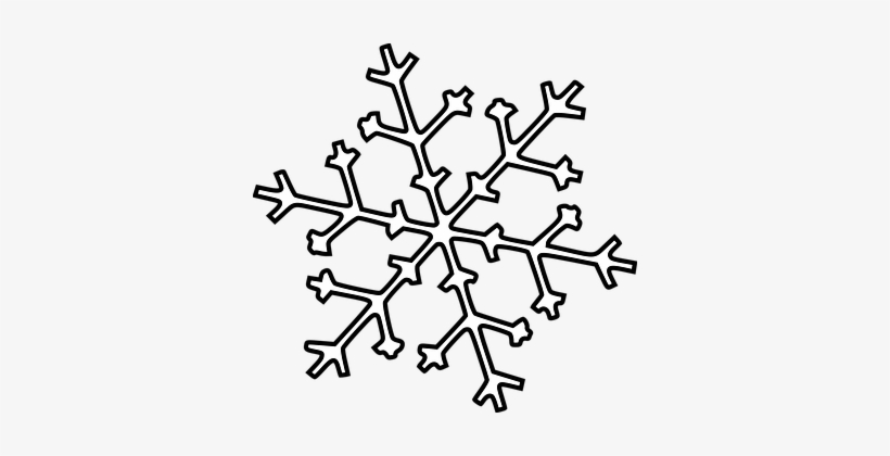 Fall White Winter Christmas Snow Snowflake - Snowflake Outline Black And White, transparent png #139500