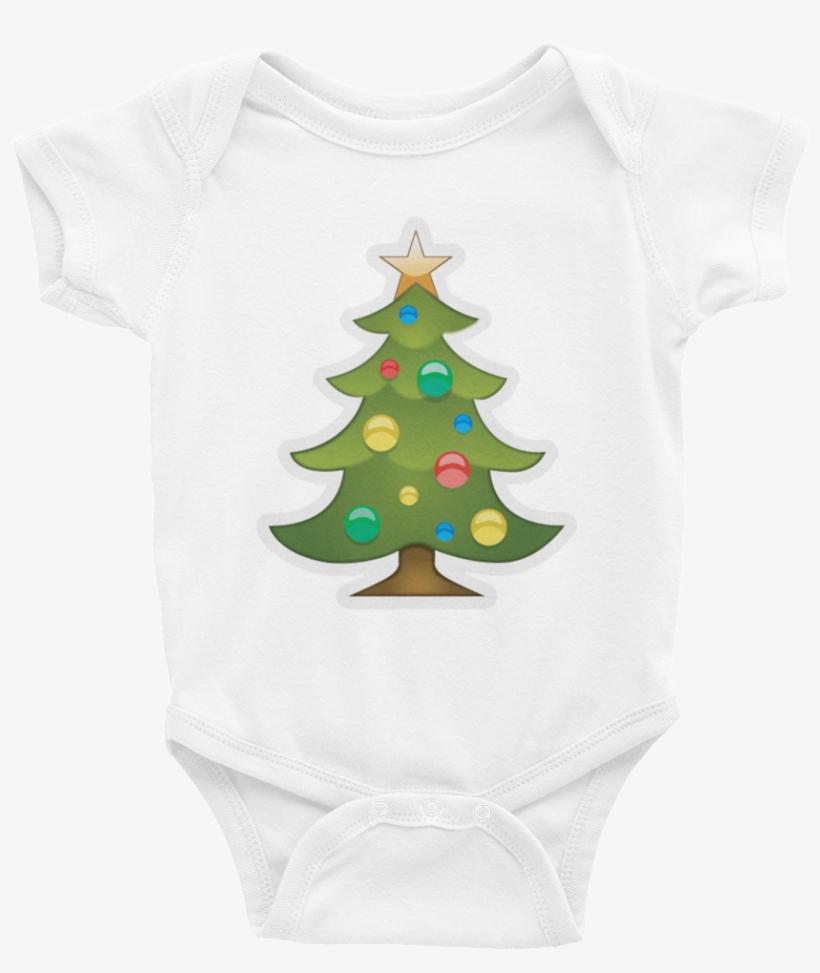 Emoji Baby Short Sleeve One Piece - Xmas Tree Emoji Png, transparent png #1302864