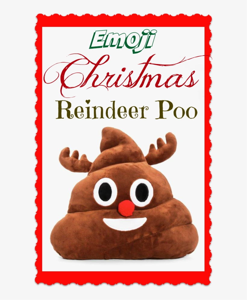 Christmas Reindeer Poo Emoji Cushion - Courtside Market White Christmas Painting Print, transparent png #1303136