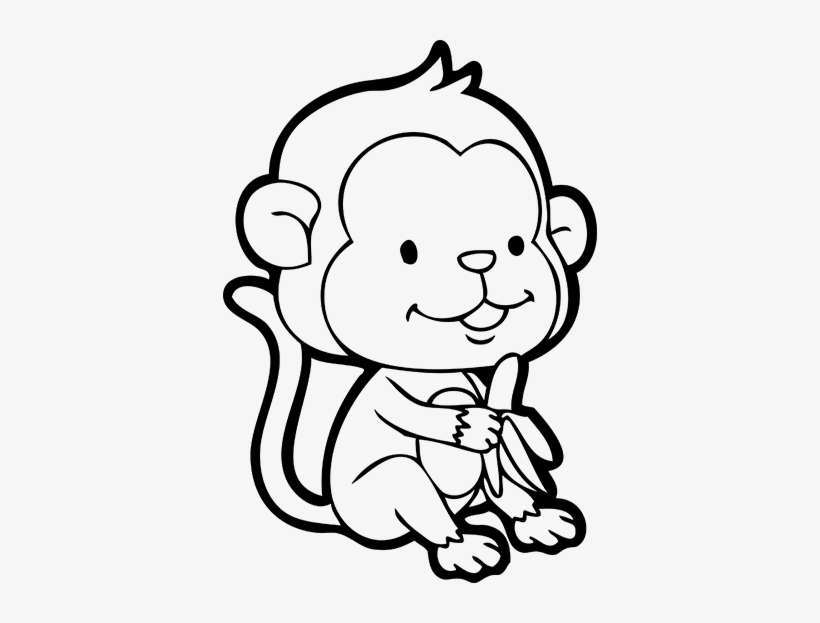 Jpg Transparent Library Outline At Getdrawings Com - Monkey With Banana Drawing, transparent png #1303566