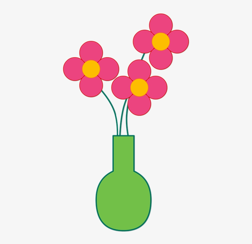 Of Flowers Png Library Download Huge - Flower With Vase Cartoon, transparent png #1304659