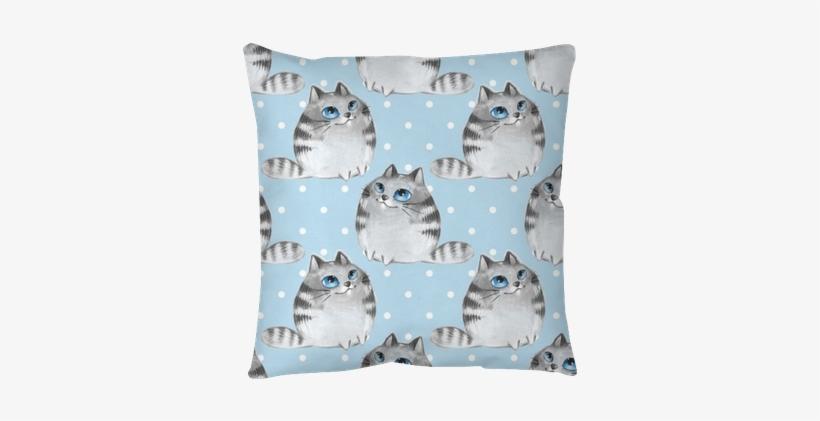 Watercolor Cartoon Cats, Blue Seamless Pattern Throw - Cat, transparent png #1304937
