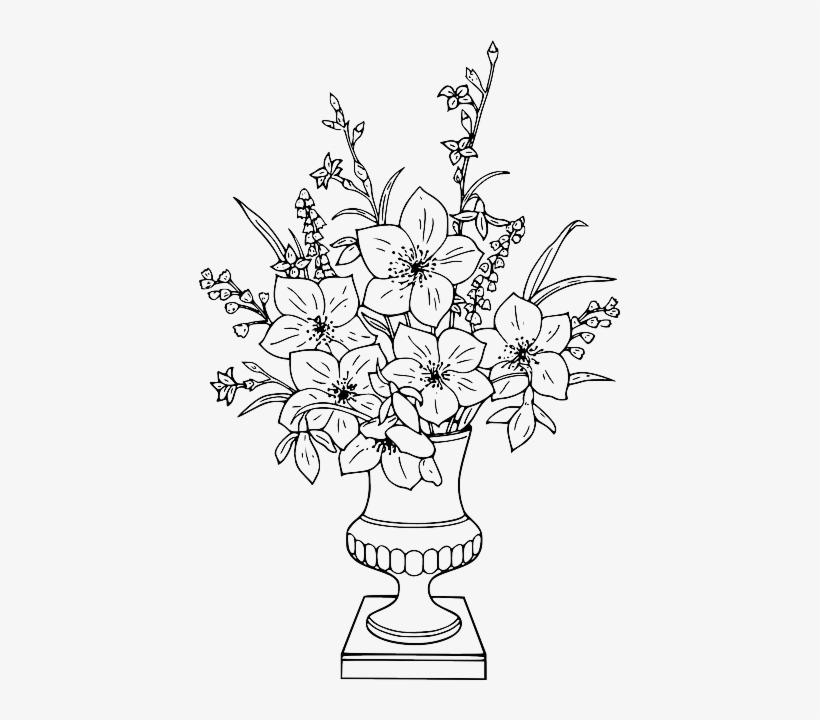 Flower, Bouquet, Vase - Flower In Vase Coloring Pages, transparent png #1305424