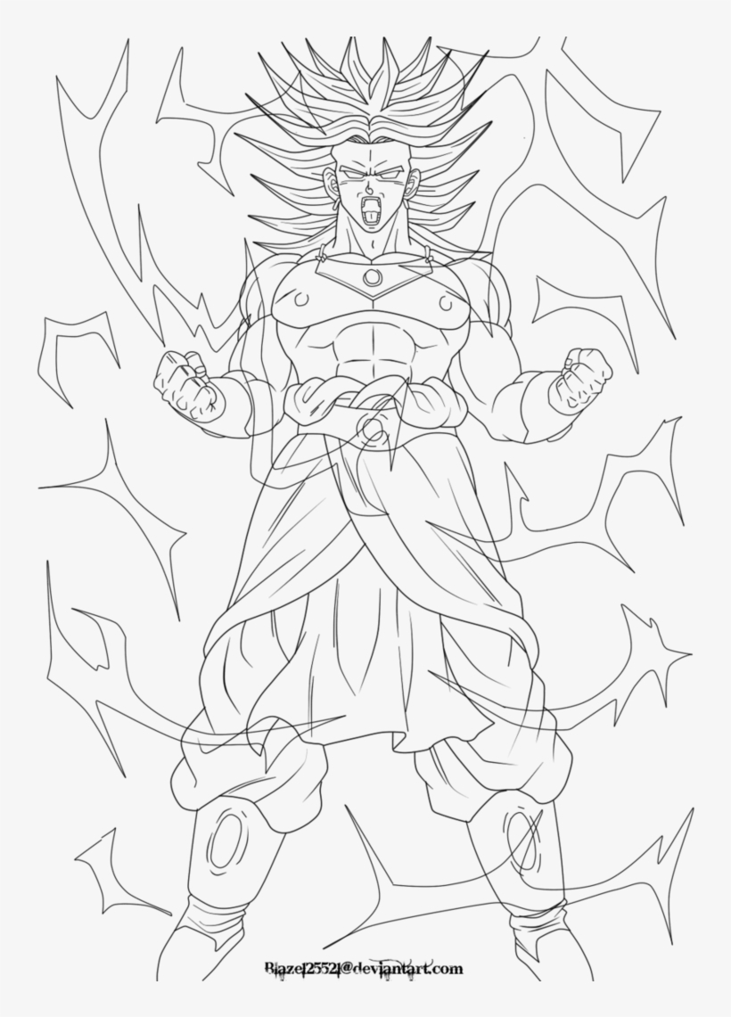 Clipart Black And White Stock Broly Going Ssj Lineart - Broly Drawing Full Body, transparent png #1306912