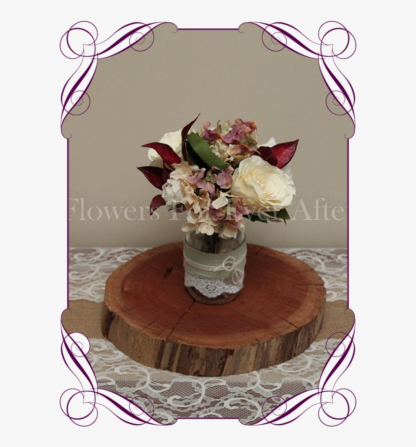 Vintage Pastel And Burgundy Rose And Hydrangea Silk - Rustic Decoration With Burgundy, transparent png #1307755