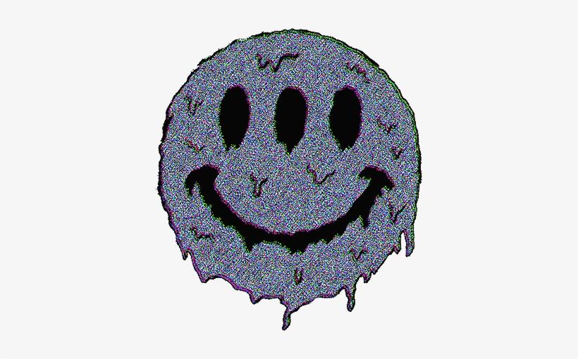 Vaporwave Trippy Trip Smile Smiley Emoji Tumblr Aesthet - Smiley Face Melting Gif, transparent png #1308008