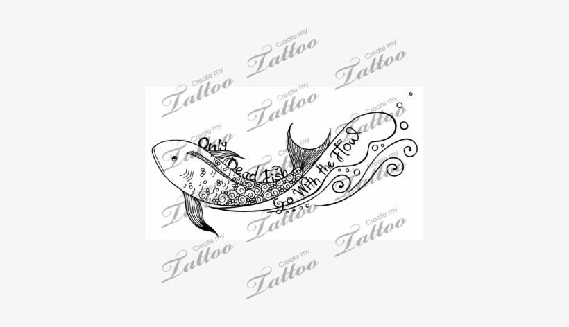 Only Dead Fish Go With The Flow Tattoo - Family On Cross Tattoo, transparent png #1309262