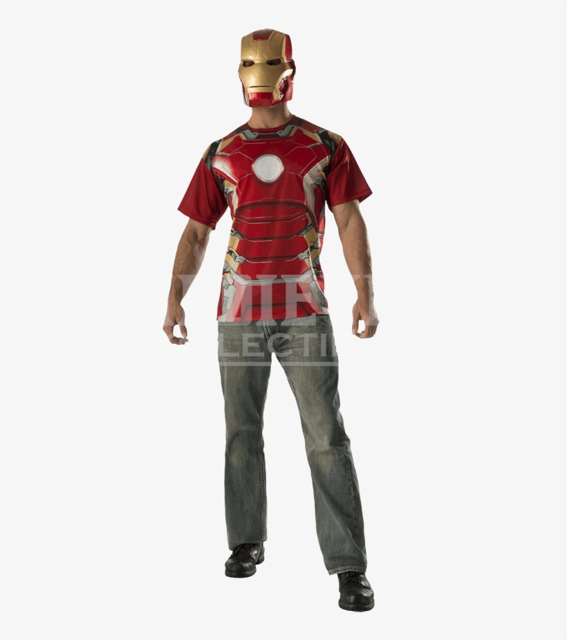 Adult Avengers 2 Iron Man Costume Top And Mask Set - Adults Iron Man Avengers: Age Of Ultron Costume Kit, transparent png #1311390