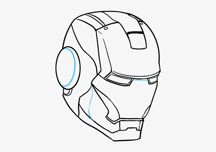 How To Draw Iron Man's Mask - Iron Man Face Sketch, transparent png #1311442