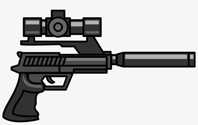 Firearm Sniper Rifle Pistol Gun Silencer - Pistol With Silencer And Scope, transparent png #1317376
