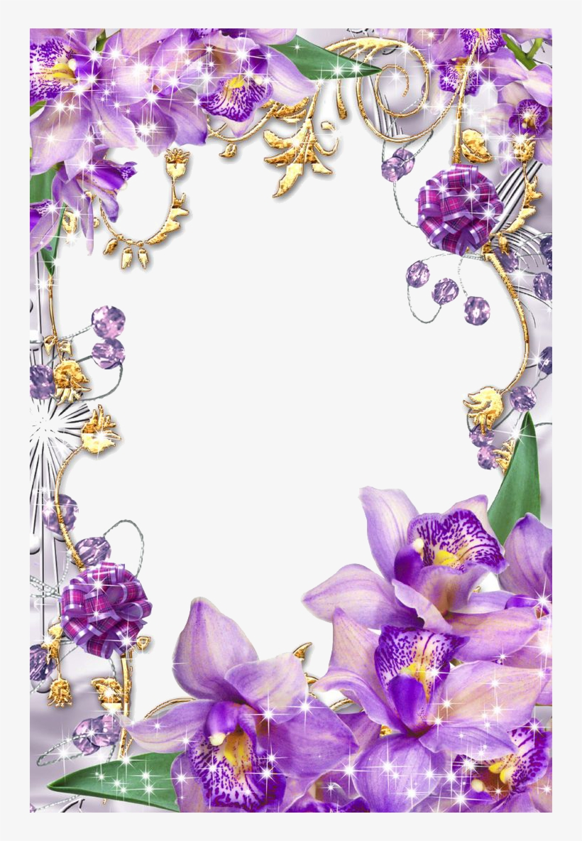 Purple Border Frame Png Transparent Image - Borders And Frames Flowers, transparent png #1319217