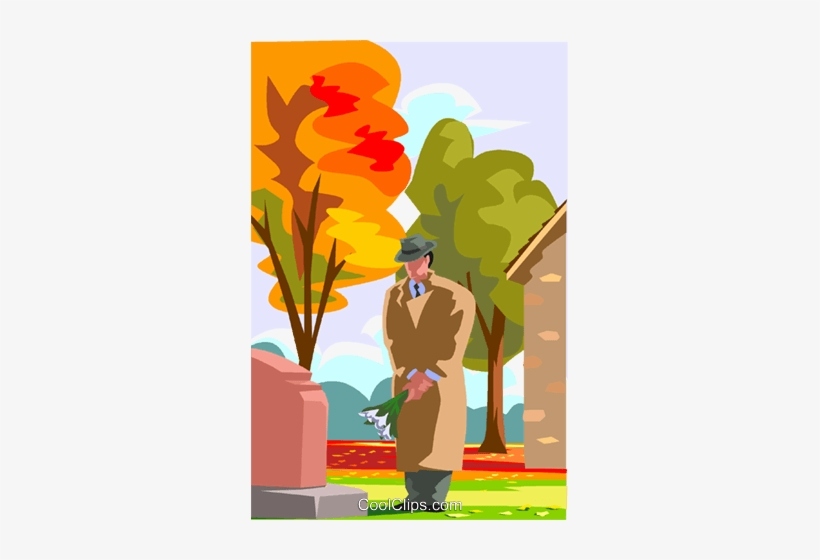 Visiting A Grave, Paying Respects Royalty Free Vector - Visiting A Grave Cartoon, transparent png #1328324