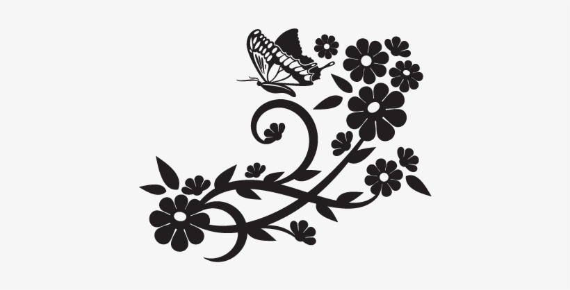 Elegant Floral Wall Decal - Beautiful Flower Clipart Black And White, transparent png #1328562