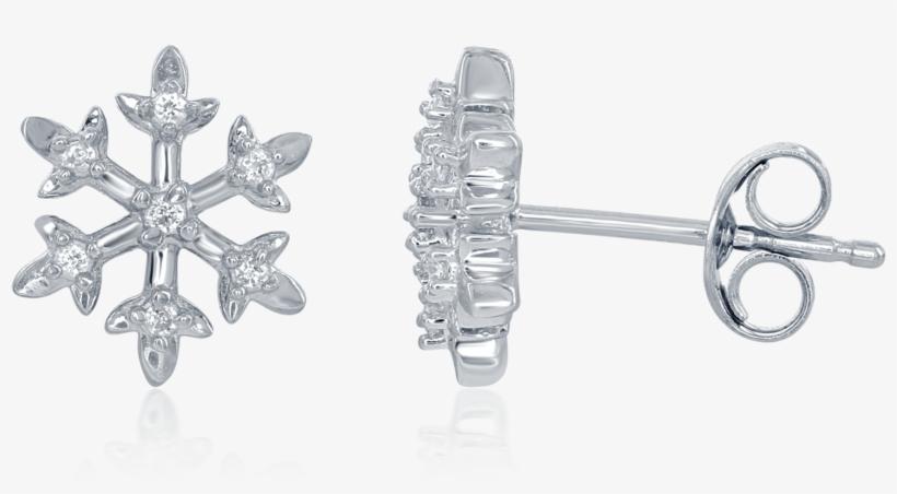 Enchanted Disney's Elsa Sterling Silver 1/15ctw Diamond - Elsa Snowflake Diamond Stud Earrings, transparent png #1334941