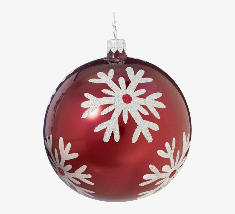 Christmas Ball Ornament With Silver Snowflake, 10cm - Christmas Ornament, transparent png #1335466