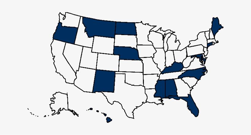 Alabama, Hawaii, Kentucky, North Carolina, Nebraska, - Silhouette Usa Map Outline, transparent png #1336181