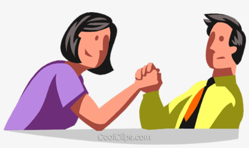 Man And Woman Arm Wrestling - Arm Wrestling Man Vs Woman Clipart, transparent png #1338031