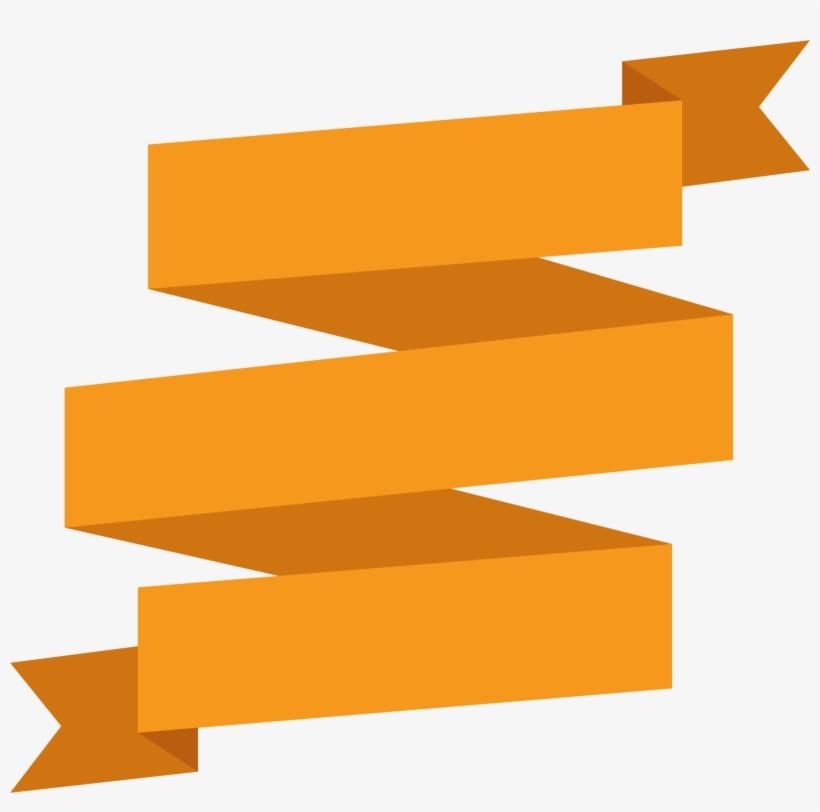 Orange Ribbon Transprent Free - Orange Ribbon Banner Png, transparent png #1340832