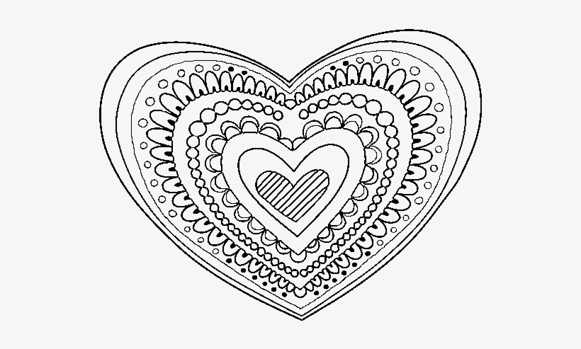 Dibujo De Mandala Corazón Para Colorear Zentangle Heart Coloring