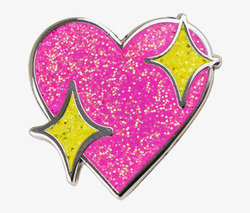 Sparkle Heart Emoji Pin - Heart Emoji Png Sparkle, transparent png #1349057