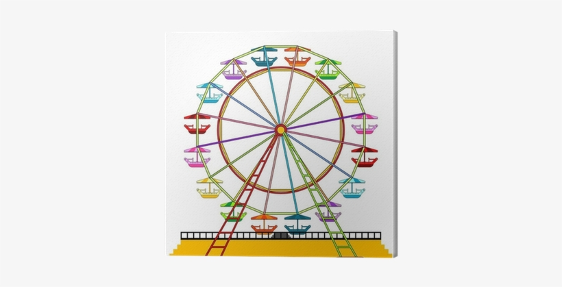 Colorful Ferris Wheel Isolated Over White Background - Coloring Pages Ferris Wheels, transparent png #1350995
