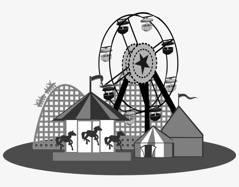 Carnival Clipart Carnival Themed - Amusement Park Clipart Black And White, transparent png #1351486