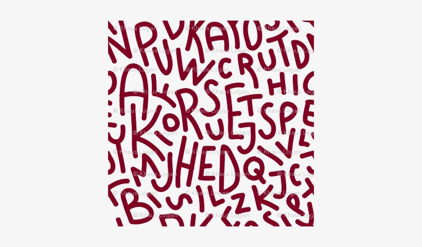 Garnet Letters Hand-drawn Typography Alphabet - Letters Seamless Pattern Printed Canvas Clutch Purse, transparent png #1355128