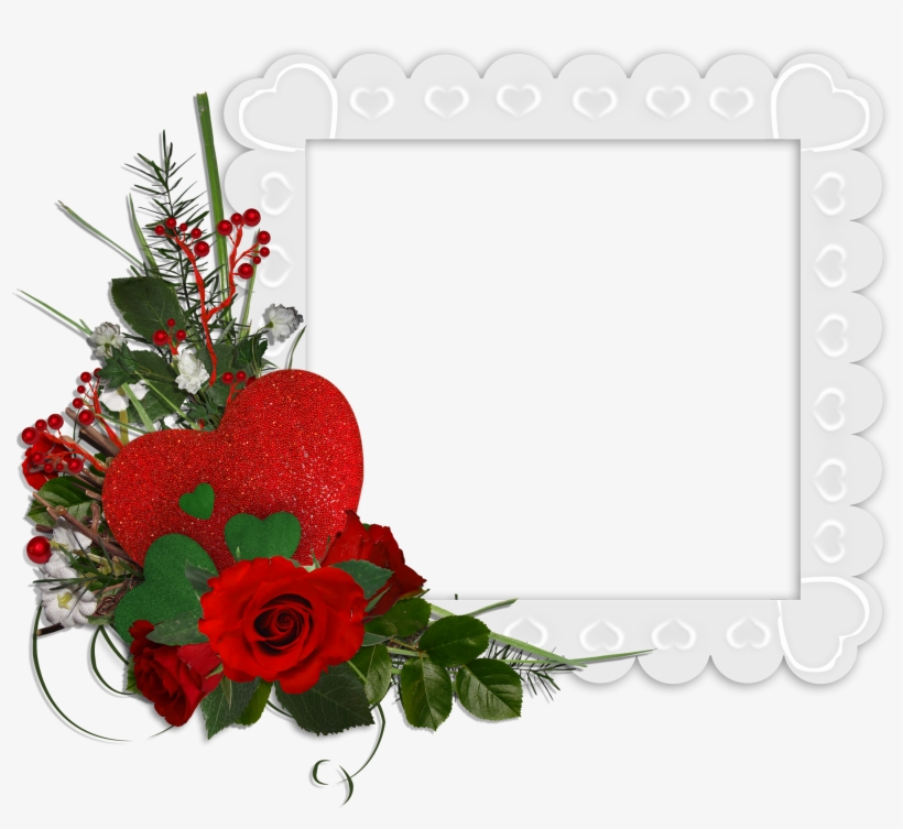 Beautiful White Transparent Frame With Hearts And Red - Beautiful Rose Flower Frames, transparent png #1357159