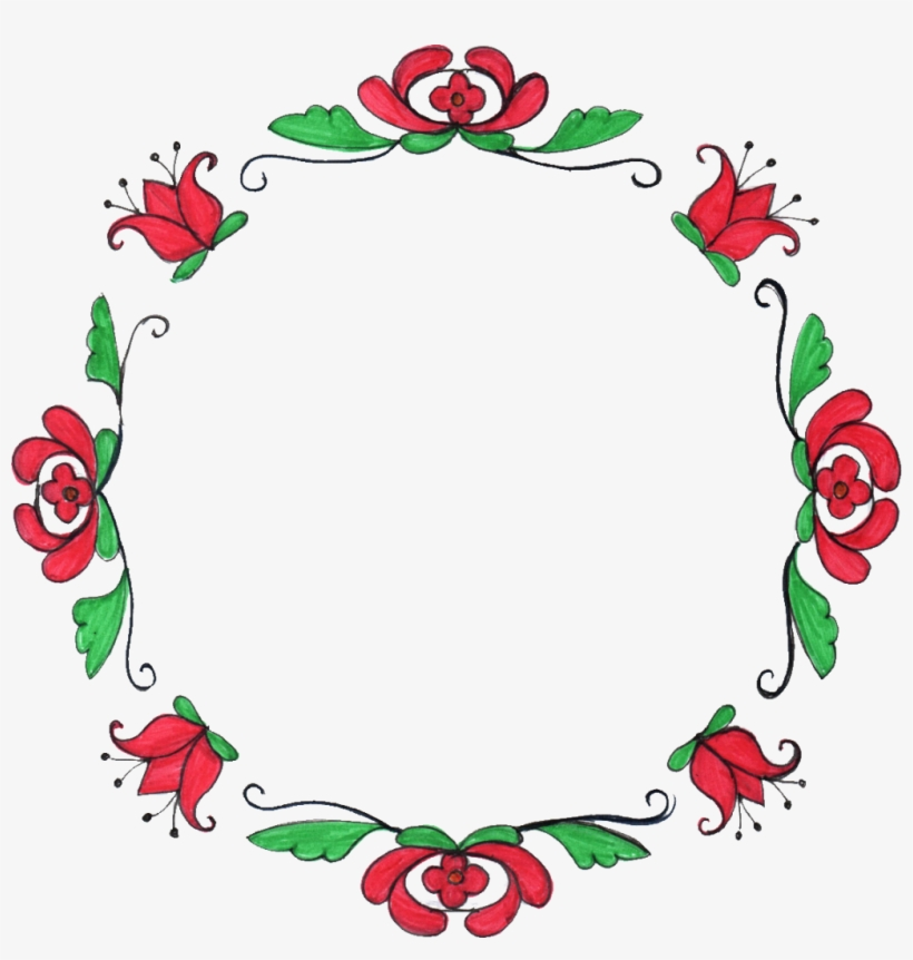8 Circle Flower Drawing Frame - Circle Flower Drawing, transparent png #1357180