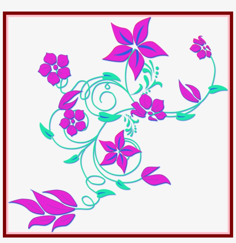 The Best Latest Flowers Border Design Arts Pict Of - Clipart Red Rose Flower Border Png, transparent png #1357503