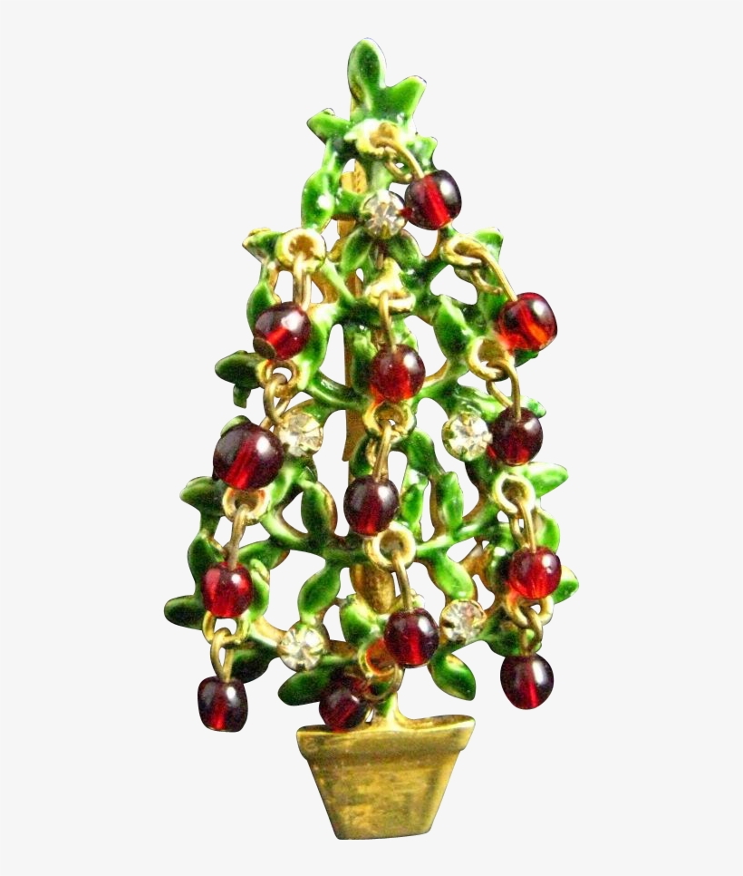 Original By Robert Red Glass Clear Rhinestone Topiary - Christmas Tree, transparent png #1359161