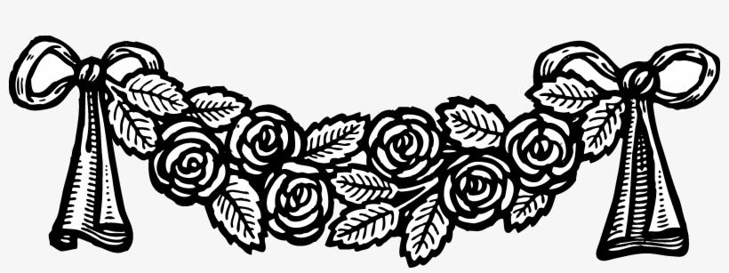 Banner Clip Vintage - Vintage Black And White Rose Clip Art, transparent png #1363033
