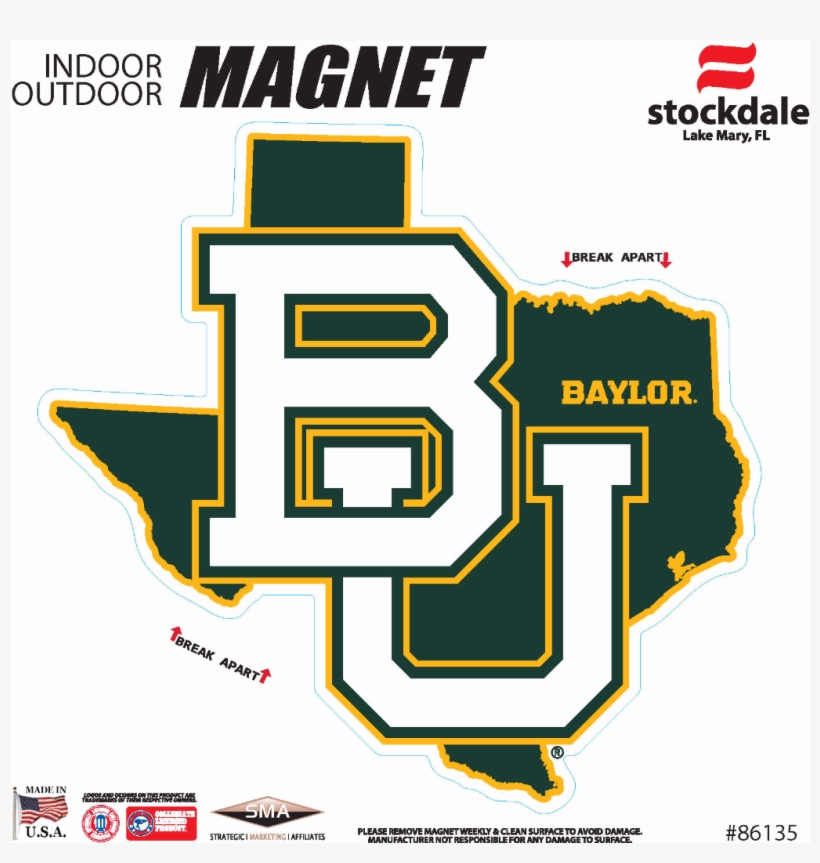 "Baylor Bears 6"" X 6"" State Shape Car Magnet, Multi, transparent png #1364886"