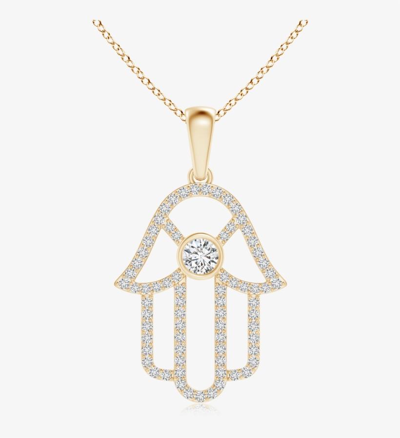 Lab Grown Diamond Hamsa Hand Necklace - Bezel Set Diamond Hamsa Hand Pendant In Rose Gold, transparent png #1367626