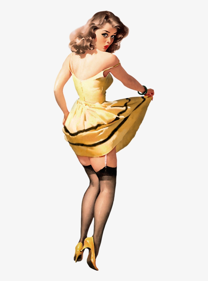 Pin-up Girl In Yellow Dress - Pin Up Girl Poster, transparent png #1370218