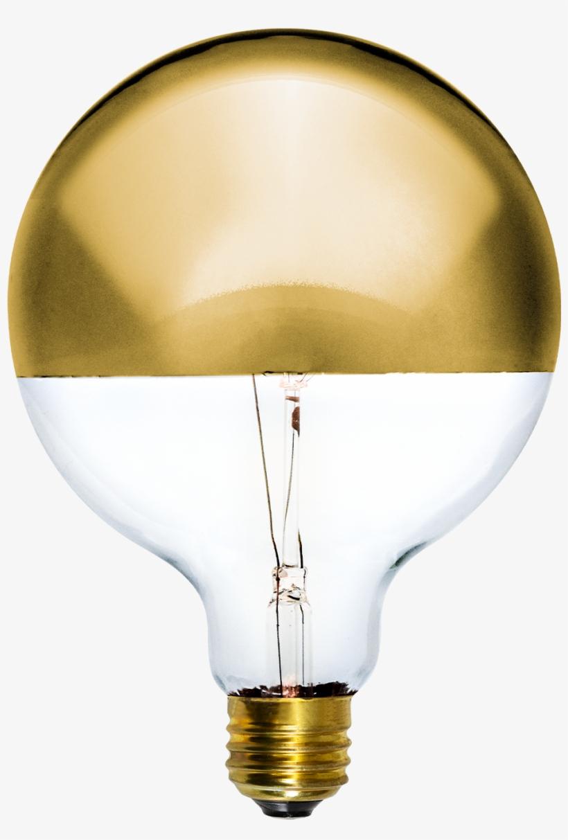 "Led Gold Dipped 5"" Globe - Incandescent Light Bulb, transparent png #1370533"
