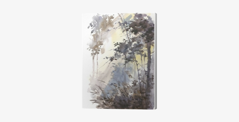 Watercolor Hand Painted Abstract Landscape, Deep Forest, - Watercolor Painting, transparent png #1373656