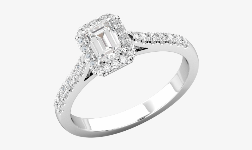 A Stunning Emerald Cut Diamond Halo Ring With Shoulder - Pre-engagement Ring, transparent png #1374493