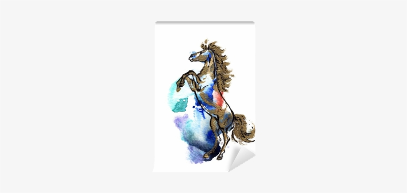 Rearing Horse Black And Gold Drawing On A Watercolor - Watercolor Painting, transparent png #1385815
