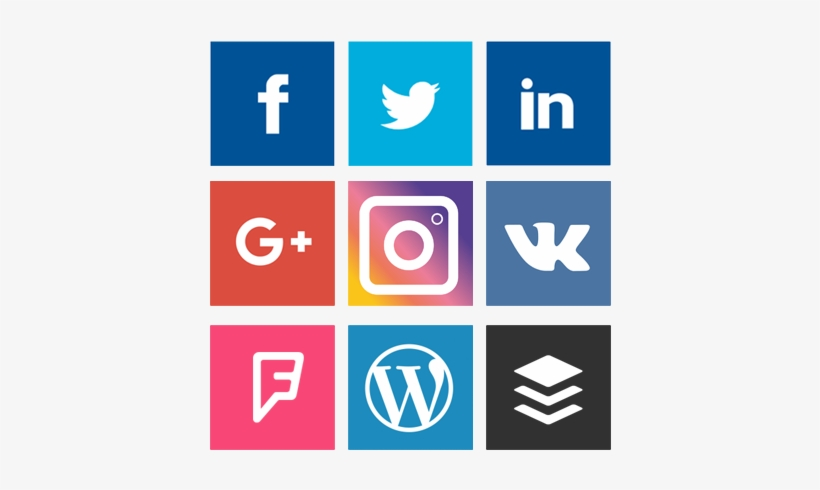 Social Media Login Buttons Png Clip Black And White - Wordpress Instagram Facebook Twitter, transparent png #1387992