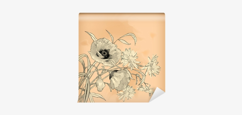 Watercolor Pencil Hand Drawing Flowers Wall Mural • - Watercolor Painting, transparent png #1388702
